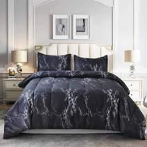 NANKO Comforter Set Queen Size, Dark Black Marble Print 88 x 90 inch Reversible Down Alternative Comforter Microfiber Duvet Sets (1 Comforter + 2 Pillow) Best Modern Bedding for Women Men