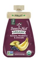 Beech-Nut Organic Baby Food, Stage 2, Organic Banana, Blueberry & Avocado, 3.5 Ounce Pouch (Pack of 12)