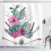 "Ambesonne Cactus Shower Curtain, Exotic Natural Vintage Style Watercolor Bouquet Bohemian Arizona Vegetation, Cloth Fabric Bathroom Decor Set with Hooks, 75"" Long, Green Pink"