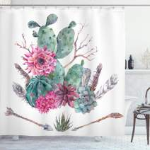"""Ambesonne Cactus Shower Curtain, Exotic Natural Vintage Style Watercolor Bouquet Bohemian Arizona Vegetation, Cloth Fabric Bathroom Decor Set with Hooks, 75"""" Long, Green Pink"""