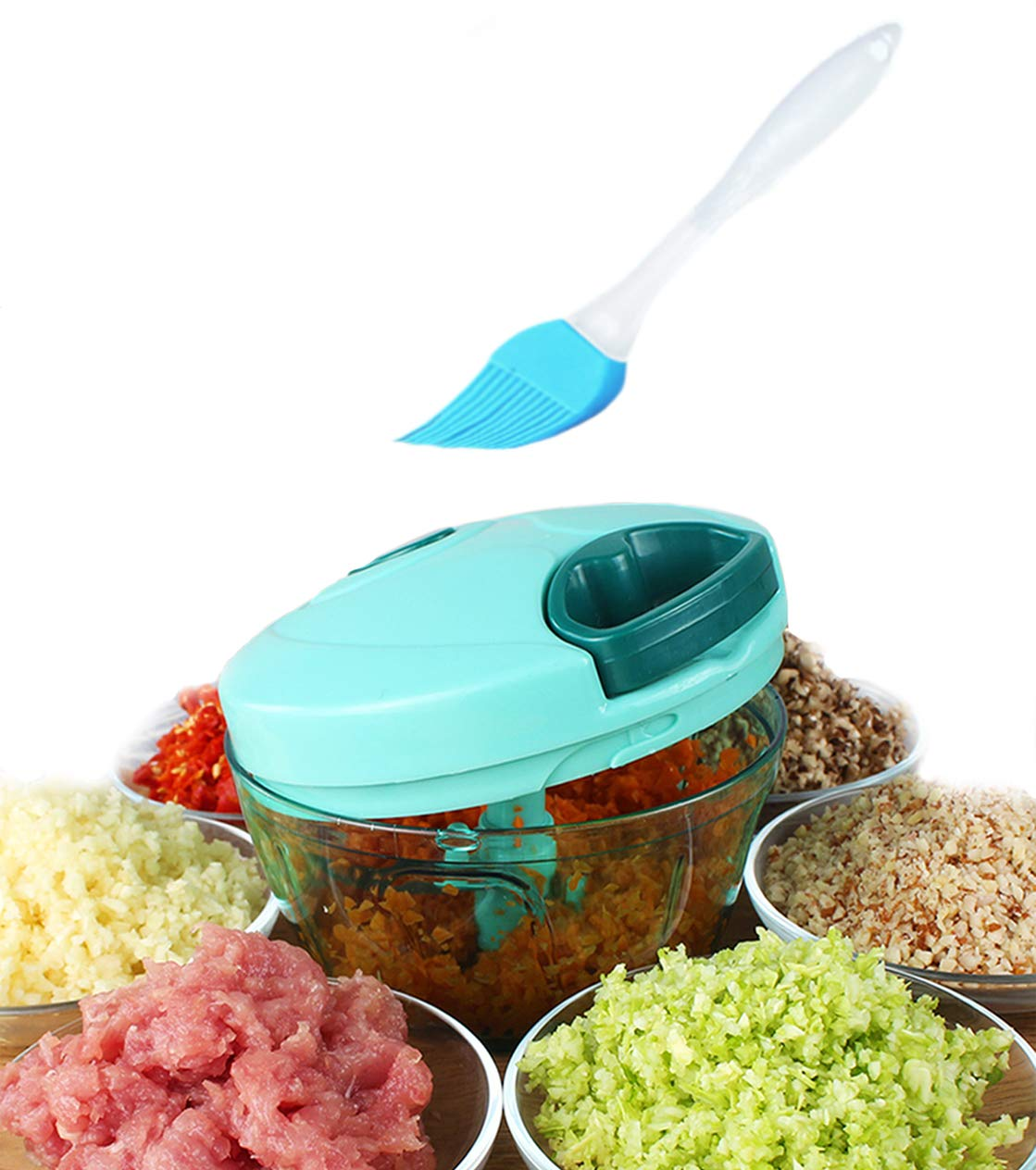 Tenta Kitchen 1.3-Cup/330ml Pull String Manual Food Processor/Vegetable Slicer/Chopper/Dicer/Mincer/Blender - To Chop Fruits,Vegetables,Nuts,Herbs,Onions,Garlic - With 8 Inch Premium Silicone Brush …