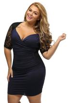 Women's V Neck Half Sleeve Ruched Lace Illusion Plus Size Night Out Cocktail Sexy Dresses