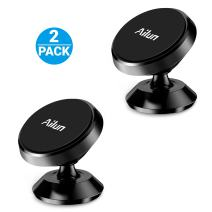 Ailun Car Phone Mount Holder 2Pack Magnet Dashboard Mount 360°Rotation Magnetic Holder for iPhone 11/11 Pro/11 Pro Max/X/Xs/XR/Xs Max Galaxy s20, s20+ S20Ultra S10 Plus Stick on Any Flat Surface Black