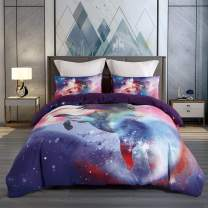 KINBEDY Unicorn Bedding Kids Duvet Cover Sets, Colorful Teen Girls Bedding Sets Queen Size Pink 3 Pcs Ultra Soft Set.