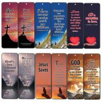 Religious Bookmarks Cards (12-Pack)- Popular Bible Verses About God's Love - Best Encouragement Gifts for Men Women Teens Kids - Church Supplies