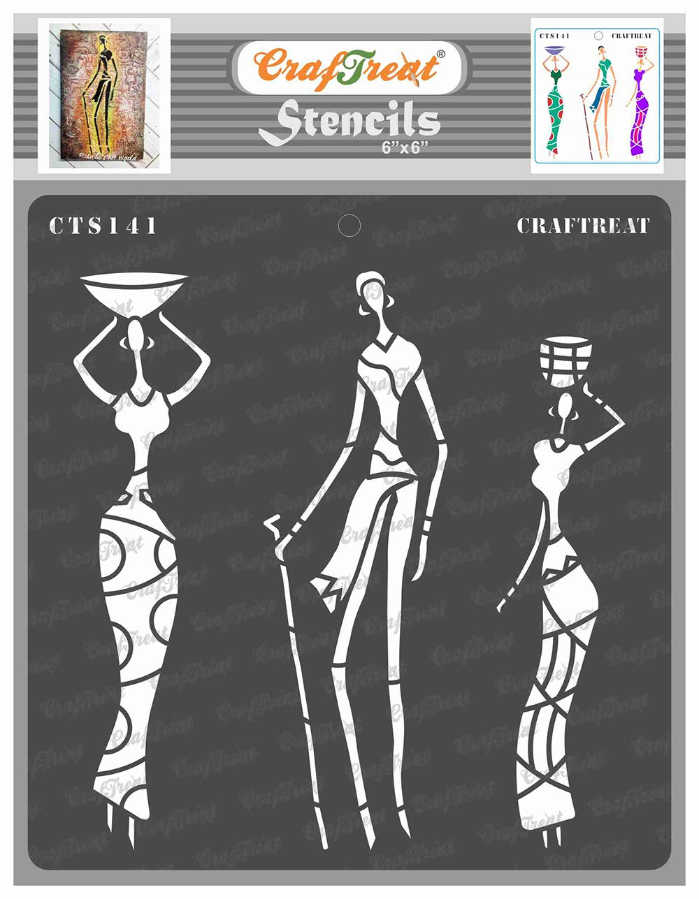 CrafTreat African Tribal Stencils for Painting on Wood, Wall, Tile, Canvas, Paper, Fabric and Floor - Tribal Family - 6x6 Inches - Reusable DIY Art and Craft Stencils - African People Stencil