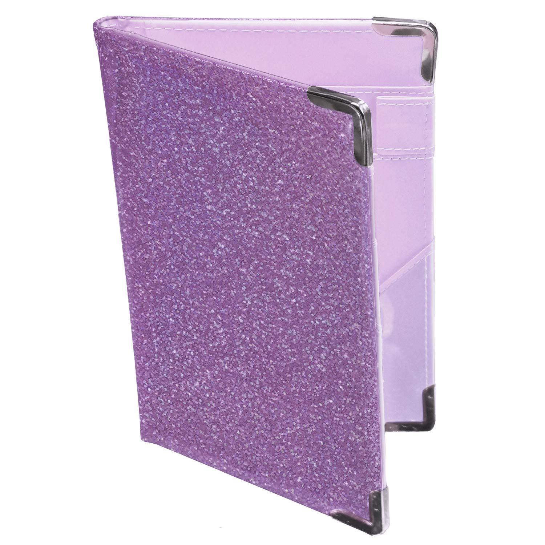 Holographic Glitter Purple Server Book Organizer for Waitress | 10 Pockets, 4 Metal Protective Corners, Zipper Pouch and Pen Holder | Waiter Waitress Wallet for Restaurant waitstaff | Purple
