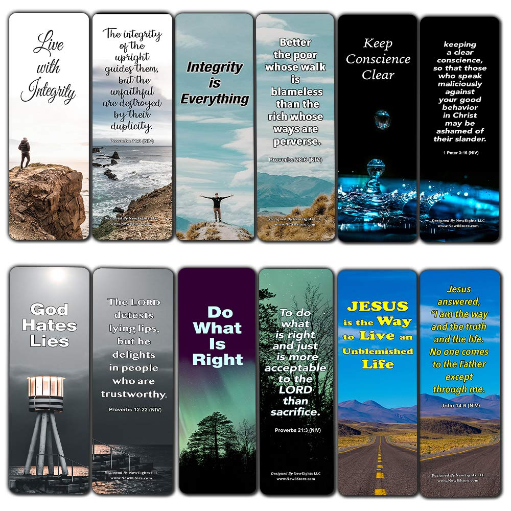 Bible Verses About Integrity Bookmarks Cards (12-Pack) - Christian Encouragement Gifts - Church Supplies - Stocking Stuffers for Father's Day Easter Day Thanksgiving Christmas Birthday Everyday