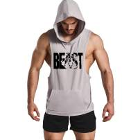 GYM REVOLUTION Men's Muscle Printed Workout Tank Tops Gym Fitness Sleeveless Hoodie