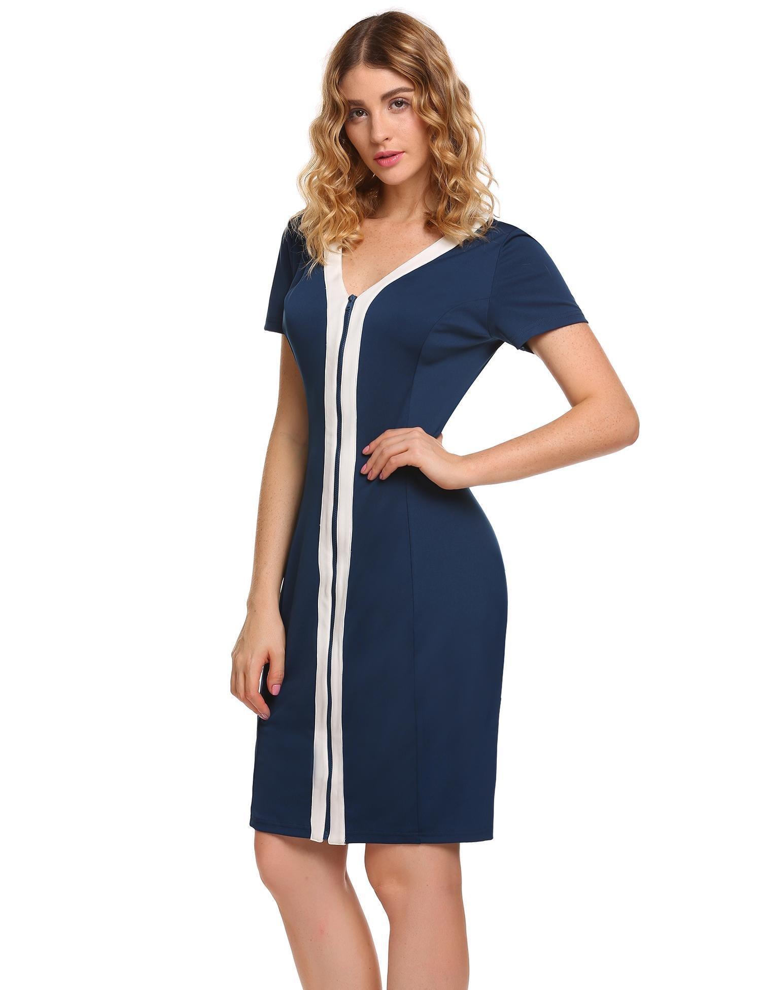 ANGVNS Women V Neck Zipper Front Contrast Color Casual Bodycon Pencil Dress