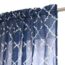 Kotile Blue Moroccan Curtains for Living Room - Metallic Silver Foil Geometric Trellis Pattern Rod Pocket Window Treatment Sheer Curtains 84 Inch Length for Bedroom, 52 x 84 Inches, 2 Panels, Navy