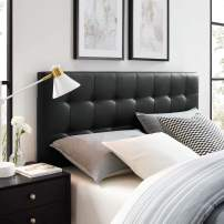 Modway Lily Tufted Faux Leather Upholstered King Headboard in Black