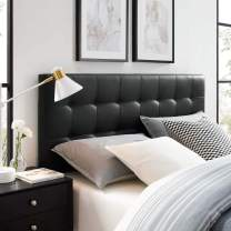 Modway Lily Tufted Faux Leather Upholstered Full Headboard in Black