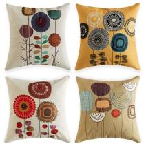 Woaboy Set of 4 Cotten Linen Pillow Cover Beautiful Sunflower Printed Pillowcase Square Decorative Cushion Cover Soft for Car Sofa Bed Couch Living Room 18 x 18Inch 45 x 45cm