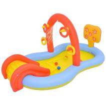 """88.5"""" Red and Yellow Inflatable Children's Interactive Water Play Center with Slide"""
