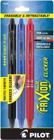 PILOT FriXion Clicker Erasable, Refillable & Retractable Gel Ink Pens, Fine Point, Black/Blue/Red Inks, 3-Pack (31467)
