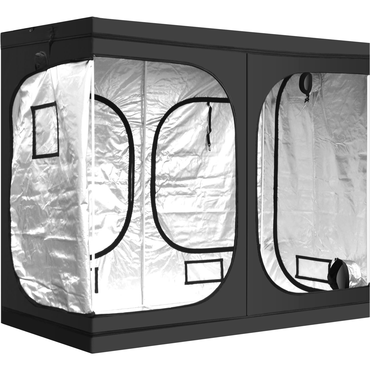 """iPower GLTENTXL1A Hydroponic Water-Resistant Grow Tent Floor Tray, Tool Bag for Indoor Plant Seedling, Propagation, Blossom, 48"""" x 96"""" x 78"""", Black"""