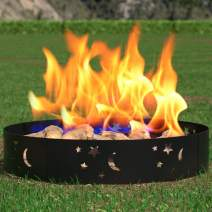 "Regal Flame Moon and Stars 36"" Wood Fire Pit Fire Ring Ð Heavy-Duty and Perfect for RV, Camping, and Outdoor Fireplace"