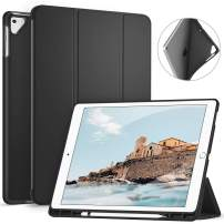 Ztotop Case for iPad Pro 12.9 Inch 2017/2015 with Pencil Holder,Lightweight Soft TPU Back Cover and Trifold Stand with Auto Sleep/Wake for iPad Pro 12.9 Inch(1st & 2nd Generation),Black