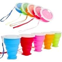 Stouge 5 Pack Silicone Collapsible Travel Water Cup,Portable Camping Cup with Lids Food Grade Mugs Set for Outdoor Drinking