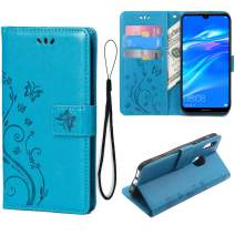 Teebo Wallet Case for Huawei Y6 2019/Y6 Pro(2019)/Y6 Prime (2019) Card Holder Embossed Butterfly Flower PU Leather Magnetic Flip Cover for Huawei Y6 2019/Y6 Pro(2019)/Y6 Prime (2019) (Blue)