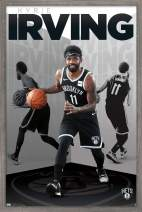 "Trends International NBA Brooklyn Nets - Kyrie Irving, 22.375"" x 34"", Barnwood Framed Version"