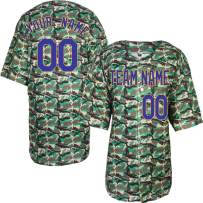 Pullonsy Camo Salute to Service Custom Baseball Jersey for Men Women Youth Embroidered Name & Numbers S-8XL Design Your Own