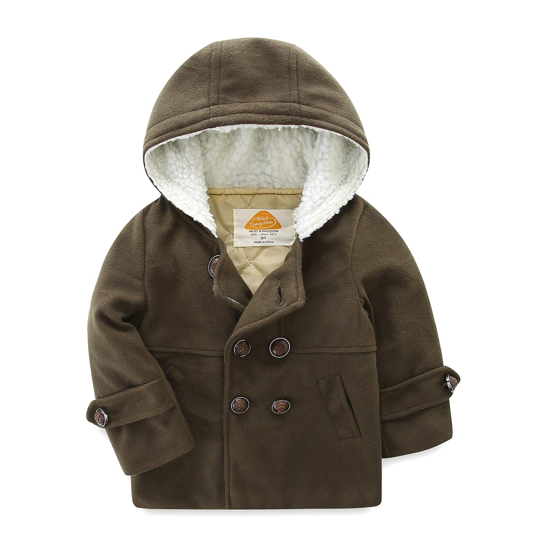 Mud Kingdom Boys Dress Coats with Hood Faux Wool Overcoat