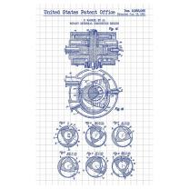 """Inked and Screened SP_AUTO_2,988,064_WG_17_A Rotary Internal Combustion Engine-F. Wankel-1961 Print, 11"""" x 17"""" 11"""" x 17"""" White Grid - Blue Ink"""