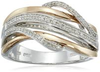 Jewelili 14kt Rose Gold Plated Sterling Silver 1/10cttw Natural White Diamond Crossover Fashion Ring