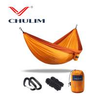 "CHULIM Double Camping Hammock with Tree Hanging Kit and 12kn Aluminum Wiregate Carabiner. 118""L x 78""W,Lightweight Portable Camping Gear.Parachute Nylon Hammock for Camping,Travel,Backpacking,Beach."