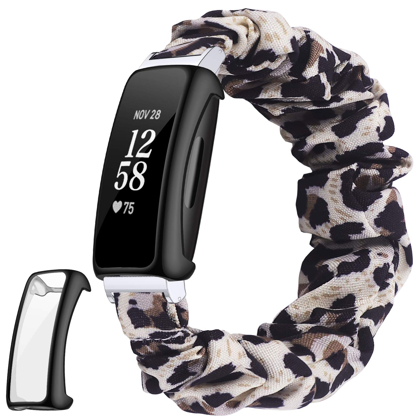 DAIKA Scrunchies Bands Plus Screen Protector Case Compatible with Fitbit Inspire 2, Women Soft Replacement Elastic Stretchy Cloth Wristband Bracelet for 2020 Inspire 2, Full Protection Cover Bumper