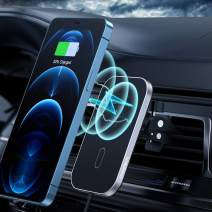 Magnetic Wireless Car Charger Compatible with iPhone 12/12 Pro/ 12 Mini/ 12 Pro Max, CHOETECH 360° Adjustable Auto-Alignment Air Vent Magnetic Phone Car Mount Holder Charger