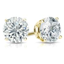 14k Gold Round Lab Grown Diamond Stud Earrings (1 3/8 to 2cttw, I-J, VS1-VS2, IGI Certified) 4-Prong Basket, Screw-backs by Diamond Wish