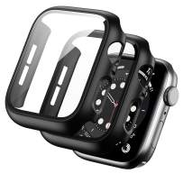 BHARVEST 2 Pack Hard PC Case Compatible with Apple Watch Series 3/2/1 38mm, Case with Tempered Glass Screen Protector Overall Bubble-Free Cover for iWatch Accessories, Black+Black