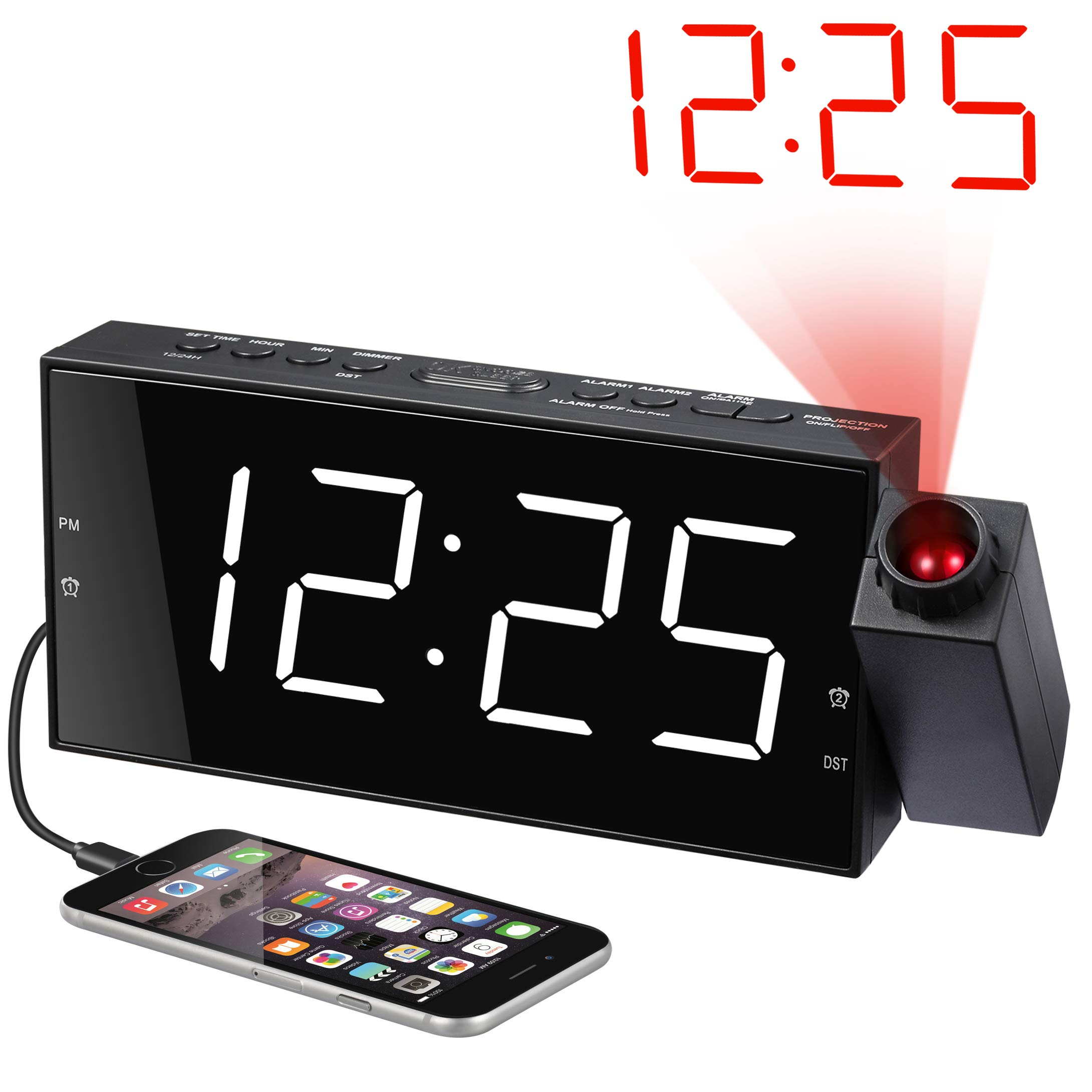 """Projection Alarm Clock for Bedrooms, Digital Alarm Clock with Large 7"""" LED Display & Dimmer, 180° Projector, USB Charger, 12/24 H, DST, Snooze, Battery Backup, Desk Wall Ceiling Clock for Kid Elderly"""