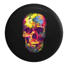 American Unlimited Watercolors Neon Dripping Paint Skull Spare Tire Cover (Fits: Jeep Wrangler Accessories or SUV Camper RV) Black 33 in