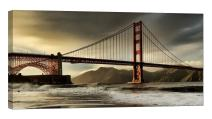 LightFairy Glow in The Dark Canvas Painting - Stretched and Framed Giclee Wall Art Print - Golden Gate Bridge in San Francisco - Master Bedroom Living Room Decor - 6 Hours Glow - 32 x 16 inch