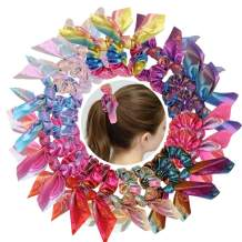 Shiny Hair Scrunchies 20 Pcs Laser Print Metallic Hair Ties Bunny Ear Scrunchies Rainbow Hair Accessories for Girls Women