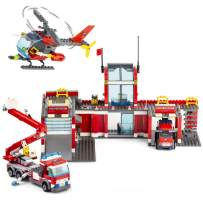 QLT City Fire Station Building Kit Stem Toys,744 Pcs Fire Car Truck Helicopter Building Blocks Models,Creative Education DIY Learning Consturction Bricks Sets Toys for Kids Gifts