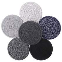 Braided Coasters for Drinks, Accmor Absorbent Heat-Resistant Cup Coasters, 6 Pack Handmade Woven Coasters Round Cotton Hot Pads Mats for Table Desk Protection