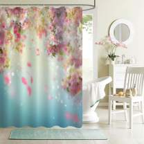 "MitoVilla Cherry Blossom Shower Curtain for Female Bathroom Decor, Spring Cherry Floral Petals Flying Downwind on Wind Bathroom Decor, Waterproof Bathroom Accessories, Pink, Turquoise, 72"" W x 84"" L"