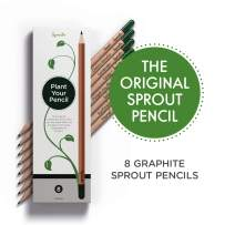 Sprout Plantable Graphite Pencils with Seeds in eco-Friendly Wood | 8 Pack |Gift Set with Herbs and Flowers