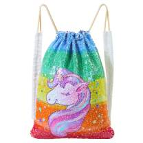 ICOSY Mermaid Sequin Drawstring Bag for Girls Canvas Backpack Dance Bag Gym Sack Unicorn Gifts for Girls