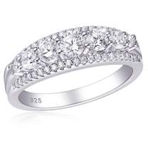 SHELOVES Sterling Silver Eternity Bands for Women Simulated Diamond Cubic Zirconia Wedding Rings