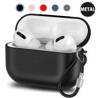 Metal Airpods Pro Case Cover, Upgraded Protective Skin Accessories Compatible Airpods Pro Wireless Charging with Keychain [Front LED Visible] (Black)