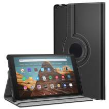 MoKo Case for All-New Fire HD 10 Tablet (7th Generation and 9th Generation, 2017 and 2019 Release) - 360 Degree Rotating Swivel Stand Cover with Auto Wake/Sleep for Fire HD 10.1 Inch, Black