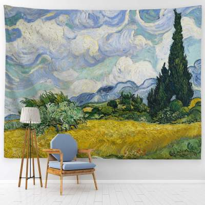 Baccessor Vincent Van Gogh Wall Tapestry Green Wheat Fields Oil Painting Wall Hanging Art Home Decor For Living Room Bedroom Bathroom Dorm 90 W X 71 L 230cmx180cm Wheat Field With