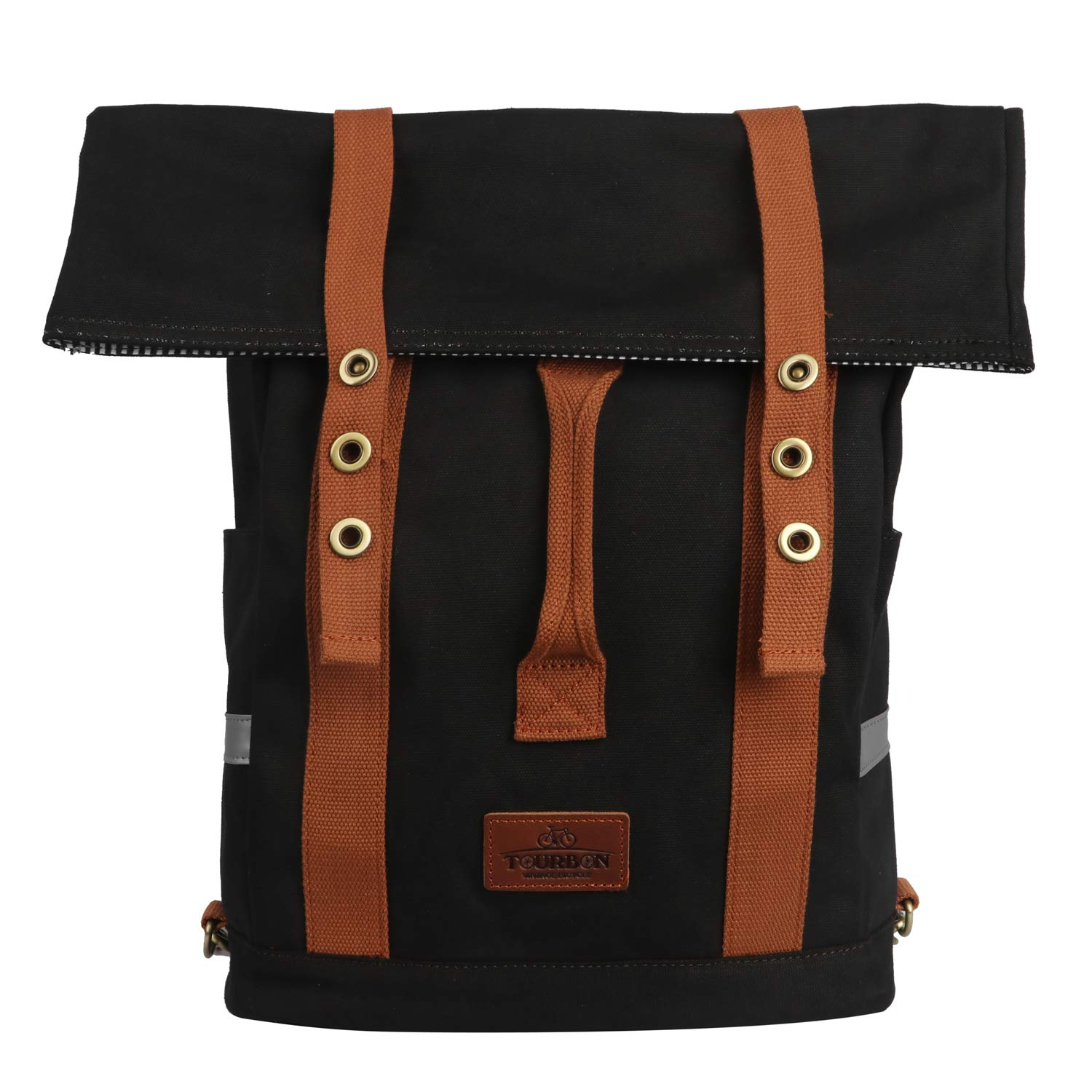 TOURBON Canvas Convertible Backpack Panniers Bicycle Cycling Bike Rear Rack Bag
