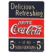 Open Road Brands Coca-Cola Delicious Refreshing 5 Cent soda Vintage Metal Tin Magnet - Coca-Cola Officially Licensed Product - Perfect Size for Home Decor